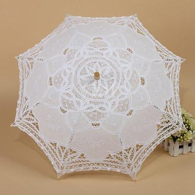 Vintage Handmade Cotton Parasols Lace White Umbrella Bridal Wedding Party Decor