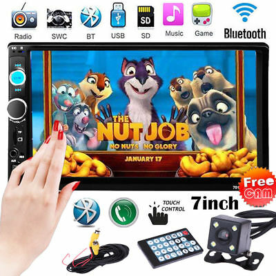 """7"""" HD Double 2DIN Touch Car Stereo Radio MP3 MP5 Player Bluetooth FM/AUX+Camera"""