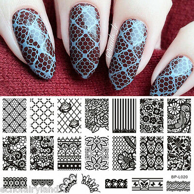 BORN PRETTY Nail Art Stamping Image Plate Stamp Template BP-L020 Lace Flower