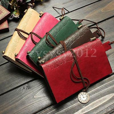 NEW Retro Classic Vintage Leather Bound Blank Pages Diary Journal Notebook UK