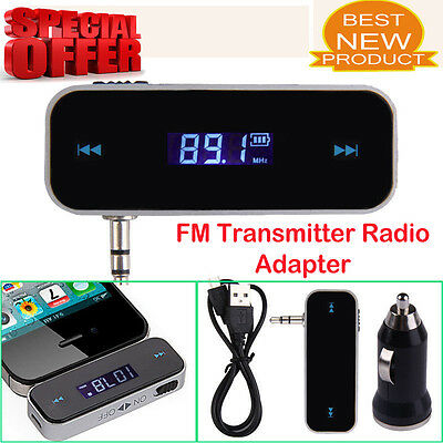 3.5mm FM Transmitter Radio Adapter for iPhone 6 5S 5C Samsung with Car Charger