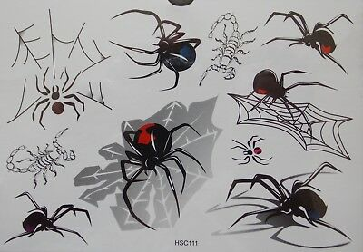 Spider + Scorpion Web Temporary Body Tattoo Stickers Waterproof Black HSC111