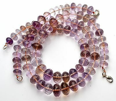 Natural Rare Gem Ametrine 11 to 16MM Facet Rondelle Beads Necklace 445Cts. 16""