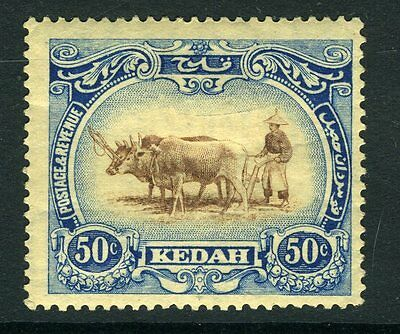 MALAYA (KEDAH)-1924 50c Brown & Grey-Blue watermark crown to left of CA Sg 36bw