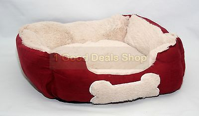 Small Luxury Washable Pet Dog Puppy Cat Bed Cushion Soft Warm Basket Red