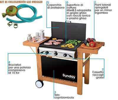Barbecue A Gas Master 3 Inox Sunday Grill -  Mcz 3 Bruciatori In Ghisa +Kit Gas