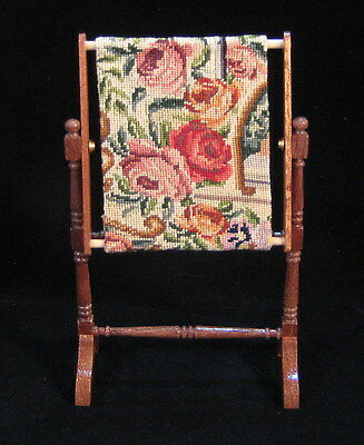 Miniature dollhouse work in progress with antique petit point - needlepoint