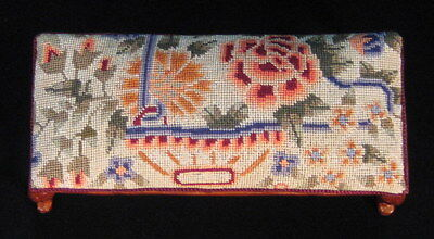 Miniature dollhouse bench with antique petit point - needlepoint
