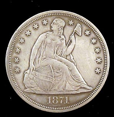 1871 (P) Choice XF Details (cleaned) Seated Liberty Silver Dollar - su2