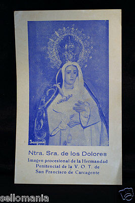 Estampa Religiosa Virgen Los Dolores  Old Our Lady Of Sorrows Holy Card   Cc185