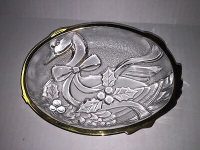Mikasa Christmas Holiday Clear Glass Candy Dish Duck with Holly