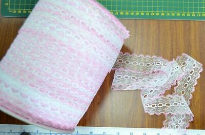 Iridescent Feather Edge Eyelet Lace, 37mm, PINK WHITE, Per 10 metre length