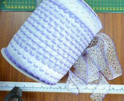 Iridescent Feather Edge Eyelet Lace, 37mm, LILAC WHITE, Per 10 metre length
