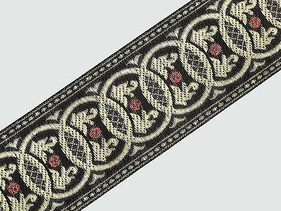 """wide By The Yard Jacquard Trim Woven Border Sew Ribbon T866 5.08 Cm 02/"""""""