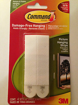 COMMAND Damage Free Picture/Poster/Canvas Hanging Strips Pk4 Holds up to 7.2kg