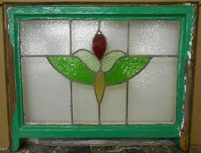 "MID SIZED OLD ENGLISH LEADED STAINED GLASS WINDOW Floral Sash 24.75"" x 17.75"""
