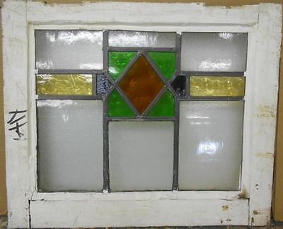 "OLD ENGLISH LEADED STAINED GLASS WINDOW Pretty Geometric Design 20"" x 16.5"""