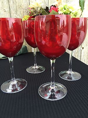 Set of 4 Ruby Glass Wine Goblets with Clear Stems