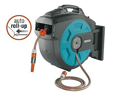 Gardena Plastic Wall-Mounted Hose Reel with Automatic Rewind 82 ft