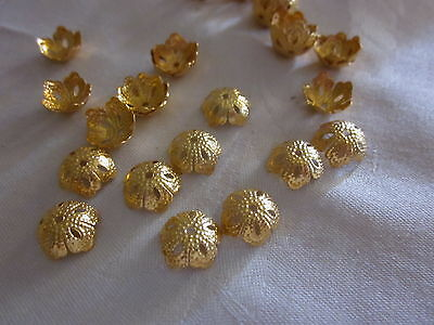 30 Gold Coloured 14x8mm Flower Bead Caps #bc3227 Combine Post-See Listing