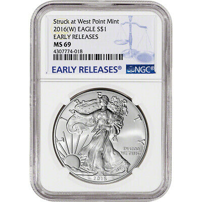 2016-(W) American Silver Eagle - NGC MS69 - Early Releases - NGC Large Label