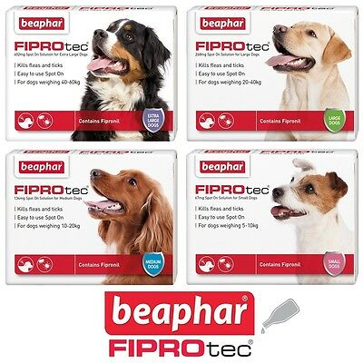 Beaphar FIPROtec Flea Spot On for Small Medium Large XL Dogs Contains Fipronil