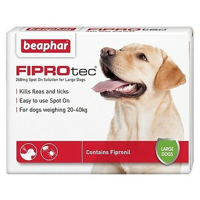 Beaphar FIPROtec Kill Flea Ticks Spot On for Large Dogs 20-40kg Contain Fipronil
