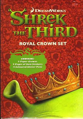 Shrek The Third Royal Crown Set 2 Crowns With Pens And Stickers Bnib