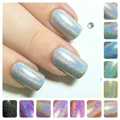 Holographic Short Full False Nails - 24 Hand Painted Glue On Artificial Nails