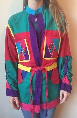 Vintage Medium Hand Made In Nepal Top Coat Shirt Red Yellow Green Blue