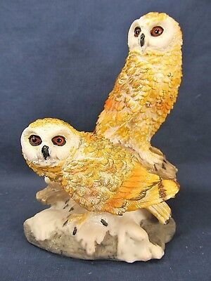 Golden Barn Owl pair on branch resin figurine home decor collectible B