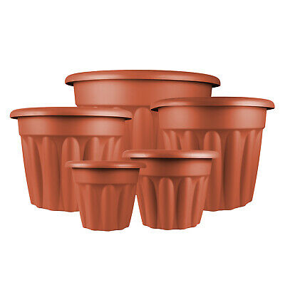 Vista Garden Flower Plant Pot Plastic Round Indoor Outdoor Terracotta BROWN
