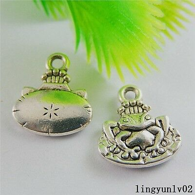 Antique Silver Alloy Animal Frog Shape Charms Pendants Findings Crafts 15x 50837
