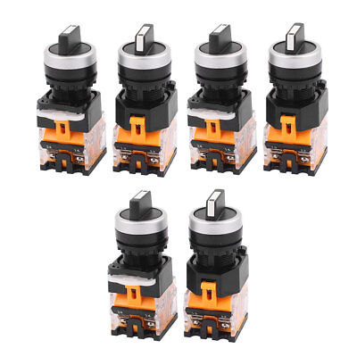 6PCS AC 660V 10A NO/NC/NO 4-Pin DPST 3 Position Rotary Selector Switch