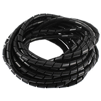 8M 25ft 8mm Black Flexible Wire Spiral Wrap Sleeving Band Tube Cable Protector