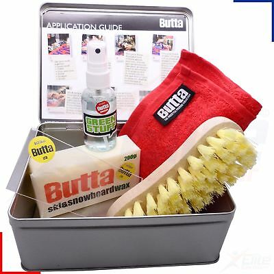Butta Service Kit Ski & Snowboard Wax, Green Stuff, Towel, Scaper, Brush Tin