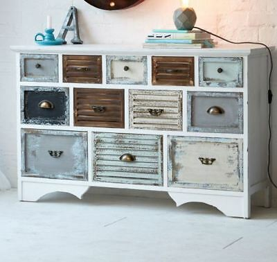 bunte kommode beistellschrank 10 schubladen shabby chic used look eur 367 00 picclick de. Black Bedroom Furniture Sets. Home Design Ideas