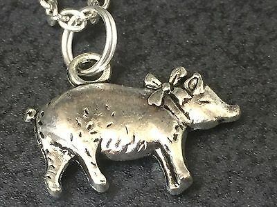 "Pig with Bow Charm Tibetan Silver Necklace 18"" BIN"