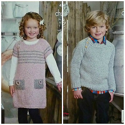KNITTING PATTERN Girls Easy Knit Round Neck Dress & Jumper Authentic Chunky 4511