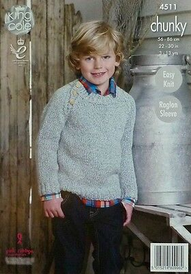 KNITTING PATTERN Childrens Easy Knit Long Sleeve Round Neck Jumper Chunky 4511