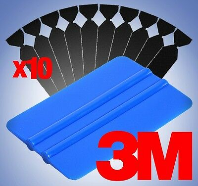 3M Blue Squeegee Applicator Tool 10x Soft Black Felt Edge Tips Vinyl Wrap Kit