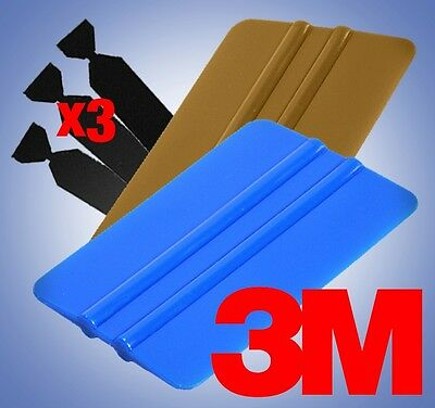 3M Blue+Gold Squeegee Applicator Tools 3x Felt Edge Decal Tips Vinyl Wrap Kit