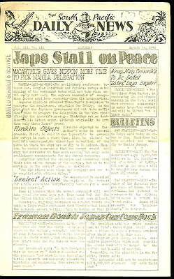 WWII Orig. NEWSPAPER- SOUTH PACIFIC DAILY NEWS -Japs Stall On Peace-1945 Aug 18