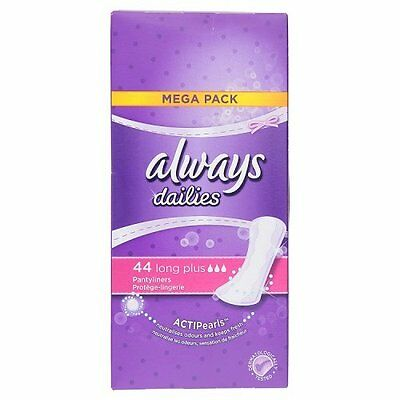 NEW x 3 Always Long Plus Dailies Pantyliners, 44 Pads GREAT VALUE OF 3 PACKS