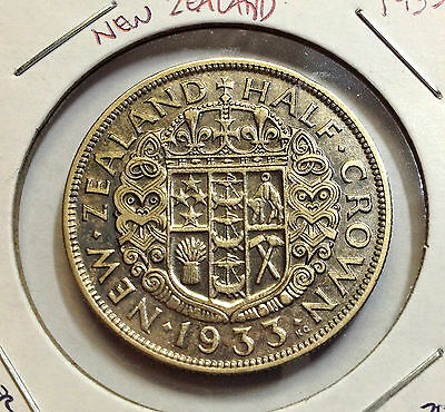 1933 New Zealand Silver Half Crown Beautiful Coin