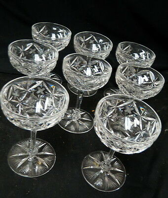 """8 signed LIBBEY wine / champagne goblets zipper cut stems 5"""" tall / pattern?"""