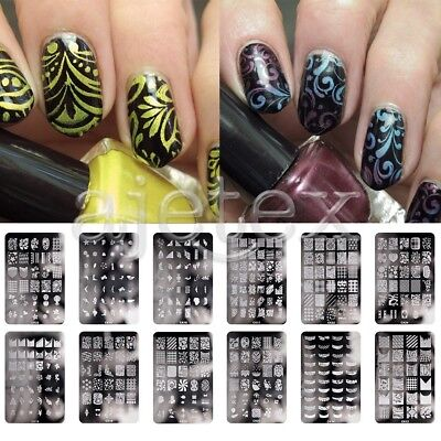 Large Resusable Nail Stamp Plate CK Serie Steel Tip Art Image Template 24 Style