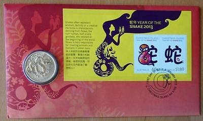 Australian Year Of The Snake 2013 Pnc Stamp And $1 Coin Covers