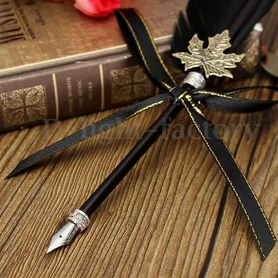 Vintage Retro Fashion Quill Dip Pen Set Goose Beauty & Black Ink Gift Wedding