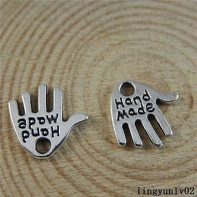 Antique Silver Alloy Engraved Words Palm Charms Pendants Finding Craft 50x 50840